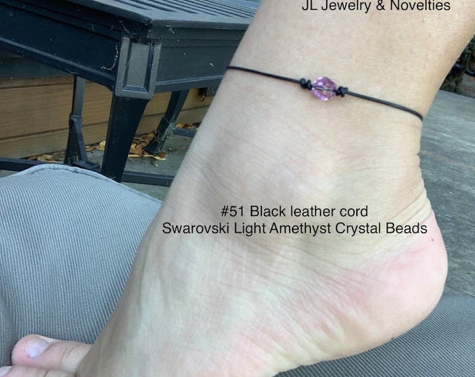 Swarovski Crystal Anklet, Light Amethyst Crystal Beads, June Birthstone, Leather and Crystal Bead Anklet, Jewelry Box, Free Shipping