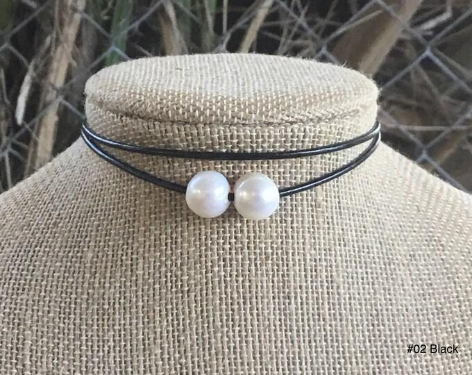 Double Pearl Choker, Double Stranded Choker, Lariat Choker, Affordable Christmas Gift, June Birthstone, Gift Bag
