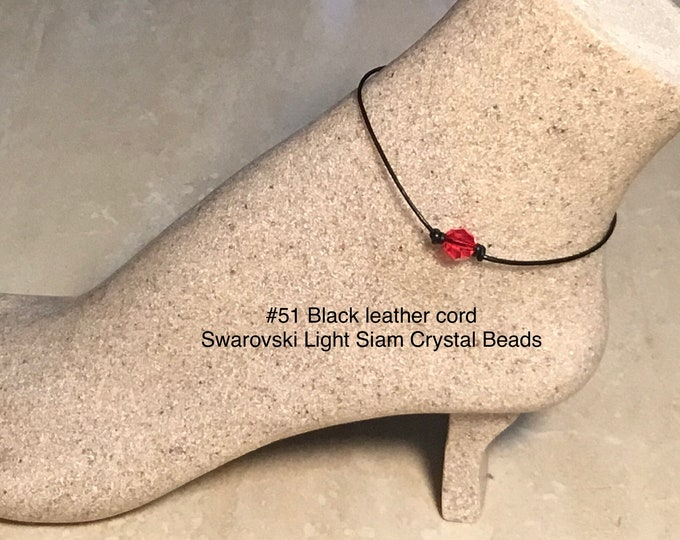 Swarovski Crystal Anklet, Light Siam Crystal Beads, July Birthstone, Leather and Crystal Bead Anklet, Jewelry Box, Free Shipping