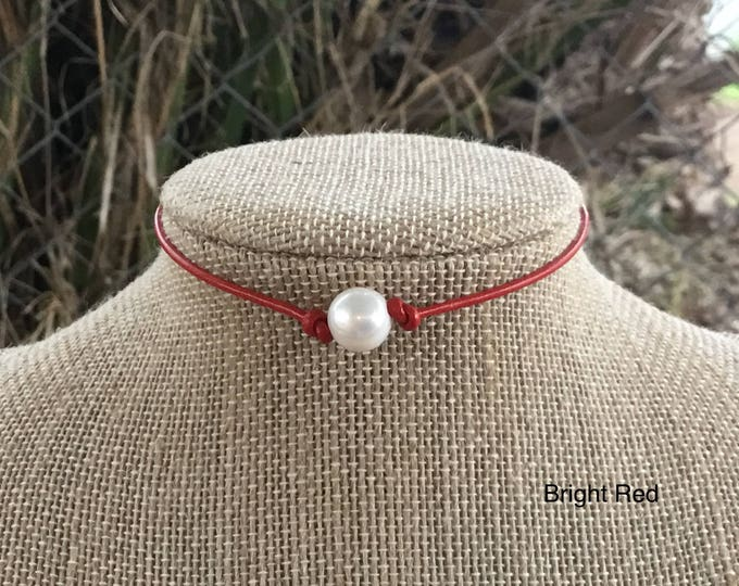 Leather Pearl Choker, Red Choker, Leather Necklace, Sterling Silver, June Birthstone, Adjustable Pearl Necklace, Jewelry Box, Free Shipping