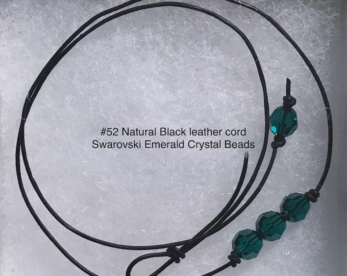 Swarovski Crystal Choker, Triple Emerald Crystal Bead, May Birthstone, Leather and Crystal Bead Choker Necklace, Jewelry Box, Free Shipping