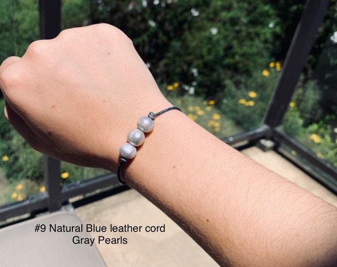 Leather Pearl Bracelet, Gray Pearl Bracelet, Triple Pearl Leather Bracelet, Affordable Christmas Gift, Boho, June Birthstone, Gift For Her