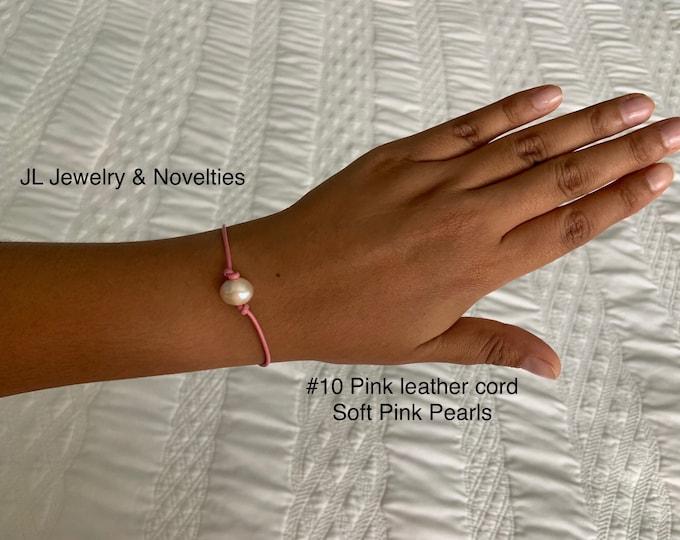 Leather Pearl Bracelet, Soft Pink Pearl Bracelet, Single Pearl Bracelet, Affordable Christmas Gift, Boho, June Birthstone, Gift For Her