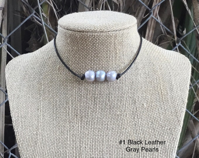 Leather Pearl Choker Necklace, Triple Gray Pearl Choker, Boho, Affordable Christmas Gift, Gift For Her