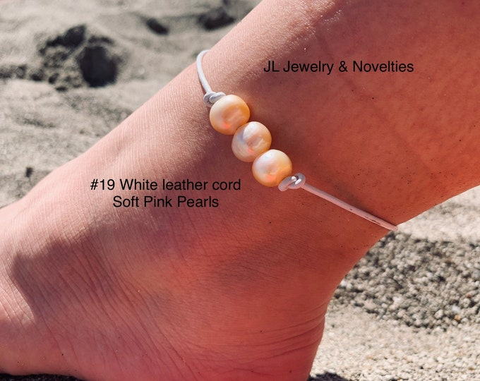 Leather Pearl Anklet, Soft Pink  Pearl Ankle Bracelet, Triple Pearl Anklet, Boho, Birthday Gift, Affordable Gift, Gift For Her