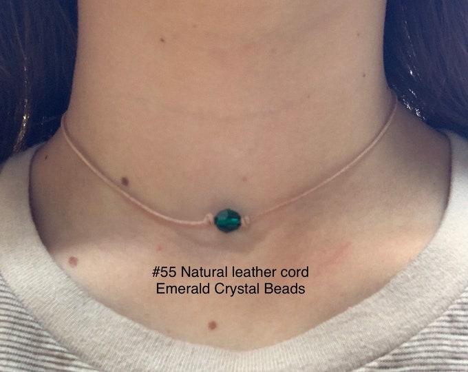 Swarovski Crystal Choker, Emerald Crystal Bead, May Birthstone, Leather and Crystal Bead Choker Necklace, Jewelry Box, Free Shipping