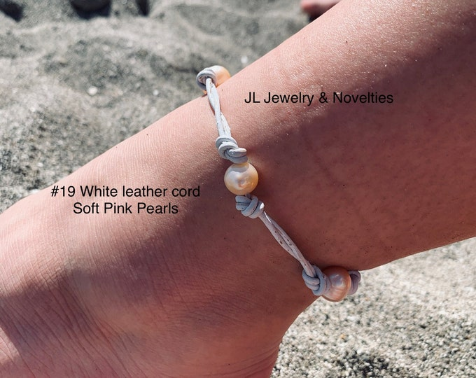 Leather Pearl Anklet, Double Stranded Pearl Ankle Bracelet, Four(4) Pink Pearl Ankle Bracelet, Birthday Gift, Gift For Her