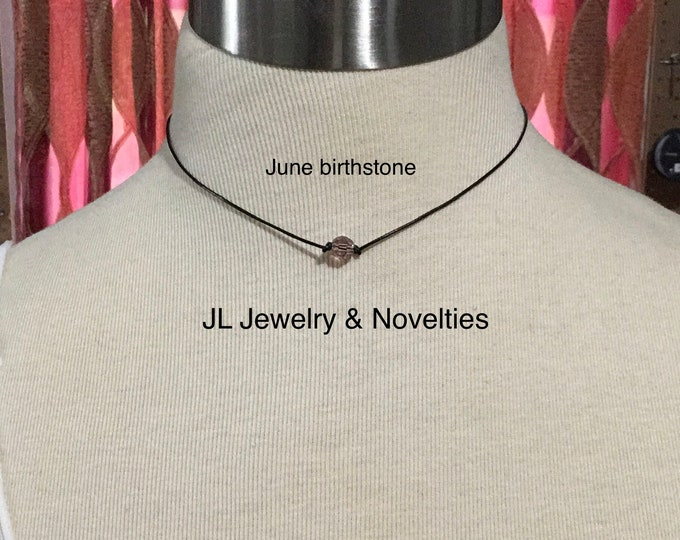 Swarovski Crystal Choker Necklace, June Birthstone, 925 Sterling Silver Lobster Clasp Chain and End Caps, Jewelry Box, Free Shipping