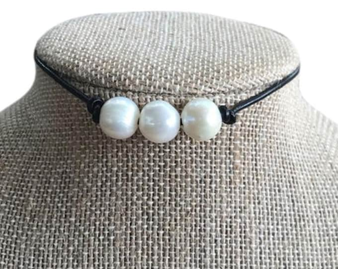Leather Pearl Choker, Black Triple Pearl Necklace, Real Pearl Necklace, Boho, June Birthstone, Affordable Christmas Gift, Gift Bag