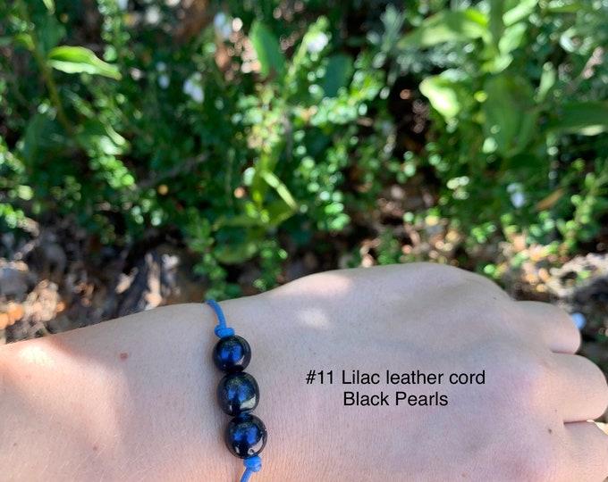 Leather Pearl Bracelet, Black Pearl Bracelet, Triple Pearl Leather Bracelet, Affordable Christmas Gift, Boho, June Birthstone, Gift For Her