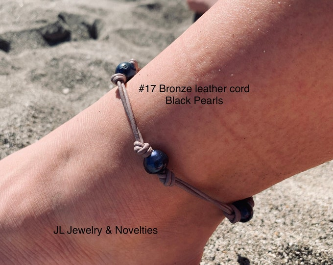 Leather Pearl Anklet, Double Stranded Pearl Ankle Bracelet, Four(4) Black Pearl Ankle Bracelet, Birthday Gift, Gift For Her