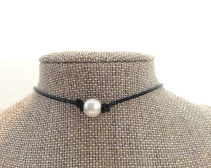 Pearl Necklace, Real Pearl Leather Choker, Magnetic Clasp, Birthday Gift, June Birthstone, Affordable Christmas Gift, Gift Bag