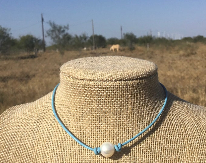 Leather Pearl Choker, Light Blue Leather Necklace, Boho, Real Pearl choker, Affordable Gift, June Birthstone, Gift For Her, Jewelry Box