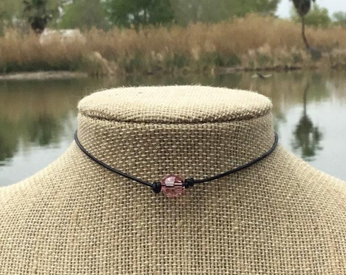 Swarovski Crystal Choker, Light Amethyst Crystal Bead, June Birthstone, Leather and Crystal Bead Choker Necklace, Jewelry Box, Free Shipping