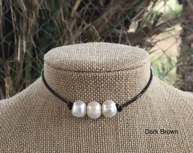 Leather Pearl Choker, Dark Brown Leather Triple Pearl Necklace,  Affordable Gift, June Birthstone, Gift For Her