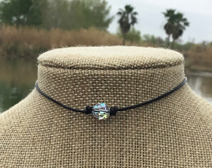 Swarovski Crystal Choker, Crystal AB Beads, April Birthstone, Leather and Crystal Bead Choker Necklace, Jewelry Box, Free Shipping