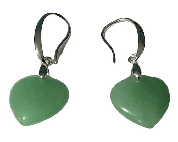 Sterling Silver Heart Shape Jade Stone Earrings, Healing Jade Stone, Sterling Silver Hooks/Bail, Gift Box