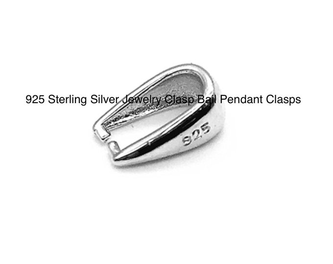 Jewelry Sterling Silver Findings 925 Sterling Silver Jewelry Clasp Bail Pendant Clasps