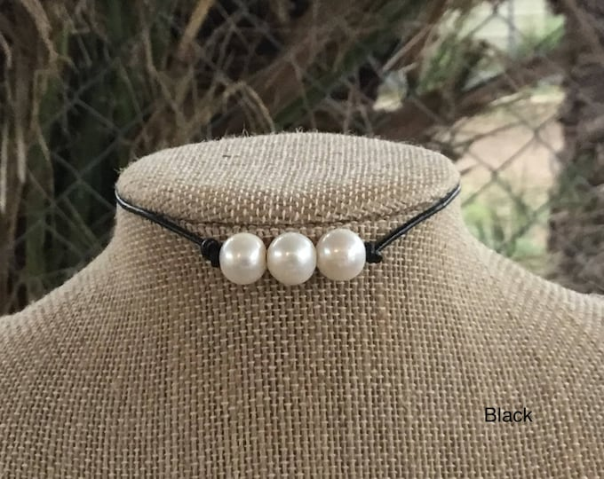 Triple Pearl Necklace, Black Leather Pearl Choker, Real Pearl Necklace, Boho, June Birthstone, Affordable Christmas Gift, Gift For Her