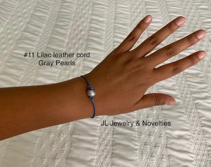 Leather Pearl Bracelet, Gray Pearl Bracelet, Single Pearl Leather Bracelet, Affordable Christmas Gift, Boho, June Birthstone, Gift For Her