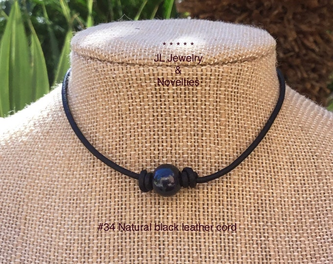 Leather Pearl Necklace, 2mm Leather Cord, Single Black Pearl Choker Necklace, Boho, Black Pearls, Affordable Gift, Gift For Her