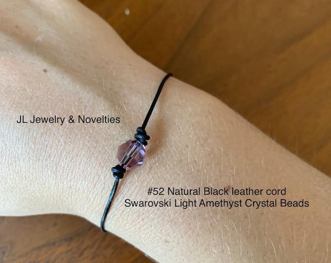 Swarovski Crystal Bracelet, Light Amethyst Crystal Beads, June Birthstone, Leather and Crystal Bead bracelet, Jewelry Box, Free Shipping
