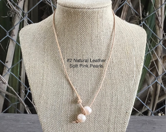 Leather Pearl Choker, Soft Pink Pearl Necklace, Leather Pearl Necklace , Boho, Affordable Christmas Gift, Birthday Gift, Gift For Her