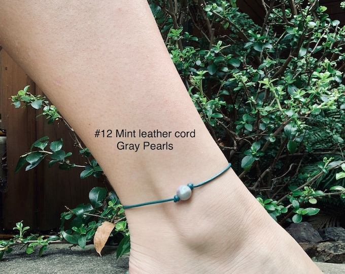 Leather Pearl Anklet, Gray Pearl Ankle Bracelet, Boho, Birthday Gift, Affordable Christmas Gift, Gift For Her
