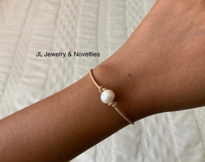 """6"""" Leather Pearl Bracelet, 8"""" Leather Pearl Anklet, 15"""" Leather Pearl Necklace, All in Natural Light Brown"""
