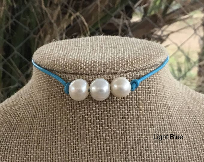 Leather Pearl Choker, Light Blue Leather Triple Pearl Necklace, Boho, June Birthstone, Affordable Christmas Gift, Gift For Her