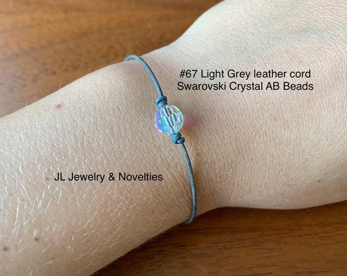 Swarovski Crystal Bracelet, Crystal AB Beads, April Birthstone, Leather and Crystal Bead bracelet, Jewelry Box, Free Shipping