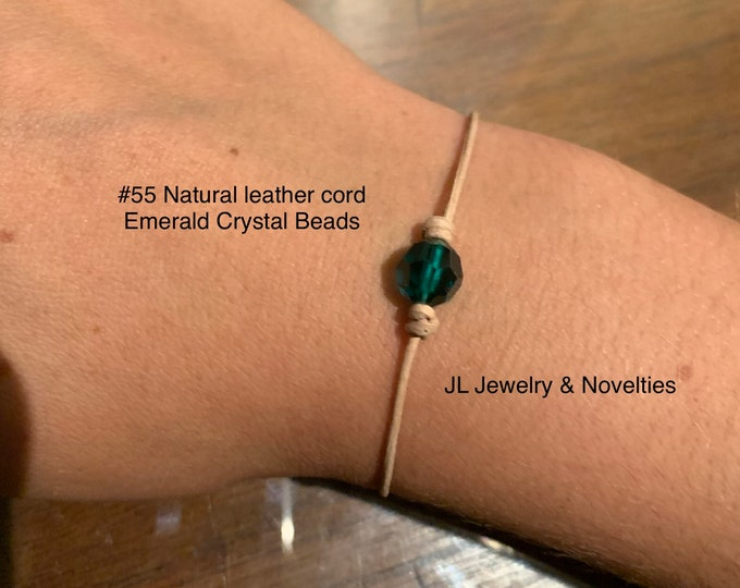 Swarovski Crystal Bracelet, Emerald Crystal Bead, May Birthstone, Leather and Crystal Bead bracelet, Jewelry Box, Free Shipping