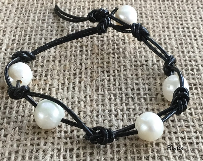 Leather Pearl Bracelet, Double Stranded Pearl Bracelet, Five(5) Pearl Bracelet, June Birthstone, Birthday Gift, Gift For Her