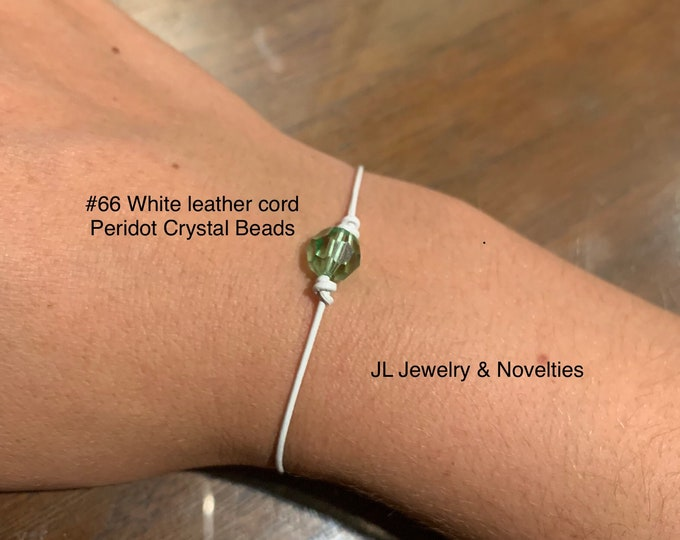 Swarovski Crystal Bracelet, Peridot Crystal Bead, August Birthstone, Leather and Crystal Bead bracelet, Jewelry Box, Free Shipping