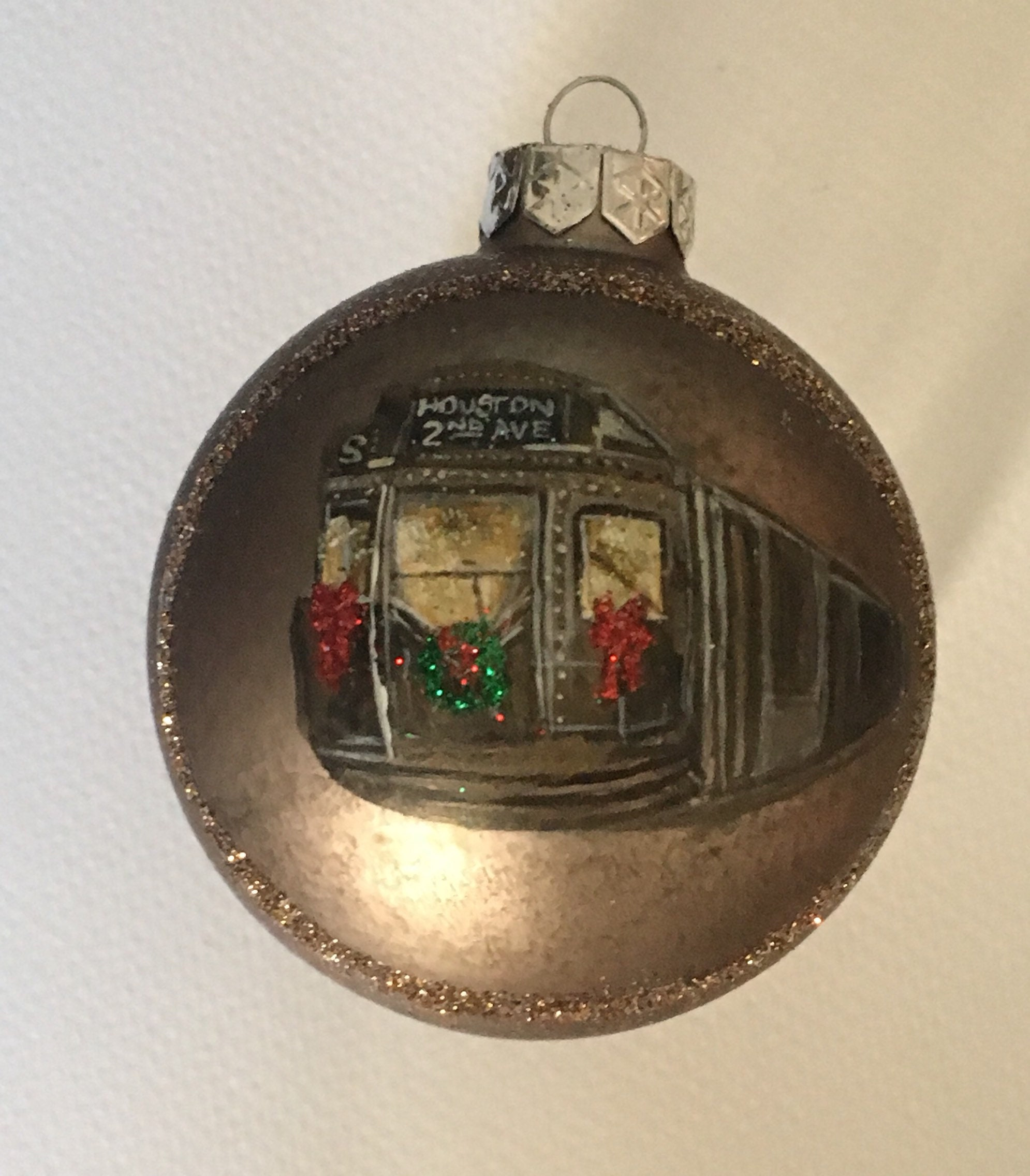 NYC Subway Hand Painted Glass Ball Christmas Ornament | Etsy