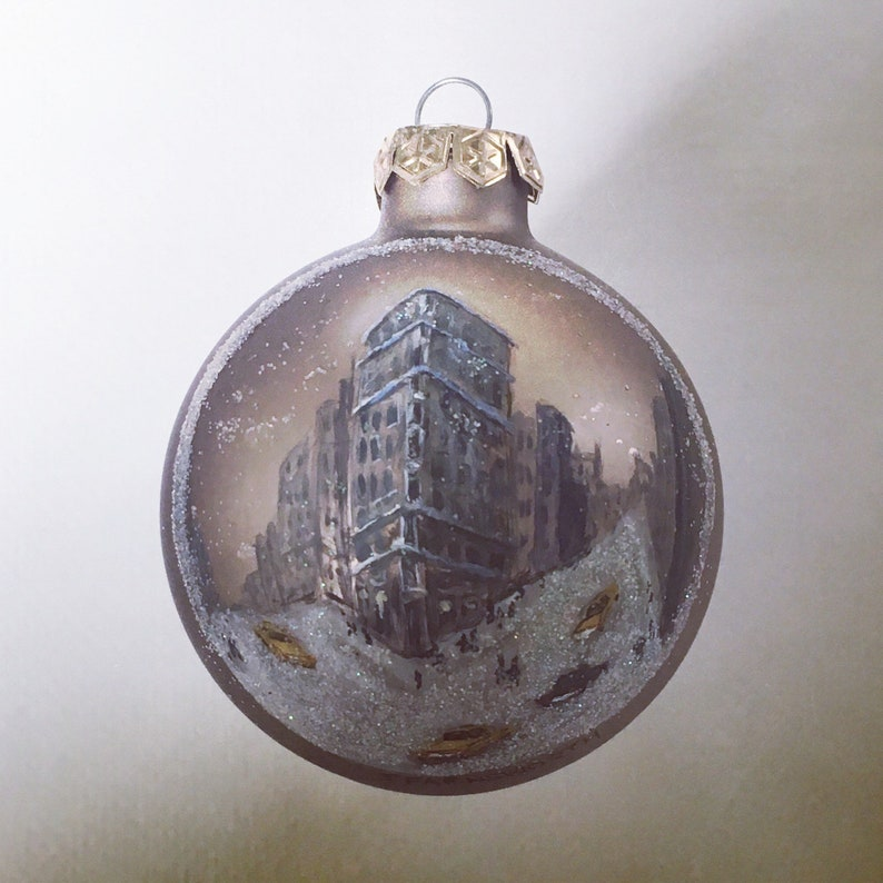 Flatiron Iron Building NYC Hand Painted Glass Ball Christmas Ornament Made-to-Order