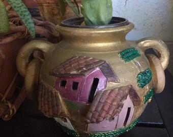 Handmade Latin American ceramic candleholder, plant holder