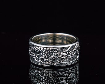 Dragon Ring, Solid Silver Dragon Band, Ring with Dragon, Ice and Fire Ring, Animal Ring, Silver Dragon Jewelry, Dragon Ornament Ring