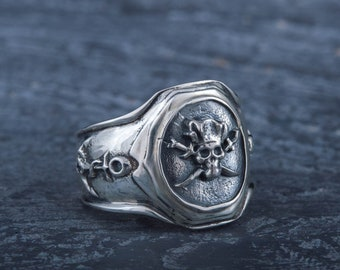 Silver Pirate Ring with Skull and Crossbones Anchor Signet with Jolly Roger Symbol 925 Silver Pirate Jewelry Gift for Seaman Husband