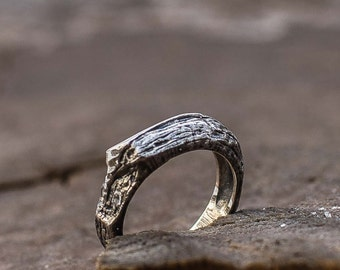 Rough Textured Ring Handmade Sterling Silver Unique Jewelry