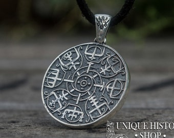 Viking pendant etsy vegvisir pendant viking necklace viking jewelry vegvisir necklace silver viking pendant runic compass pendant for viking aloadofball Image collections