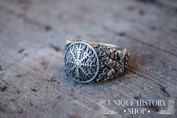 82e92661b0c9f Aegishjalmur or Helm of Awe Ring with Oak Leaves and Acorns - Unique  Handmade Pagan Jewelry