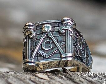 Unique Freemason Ring, Handcrafted 925 Silver Masonic Jewelry, Knights Templar Ring, Freemasonry Jewelry