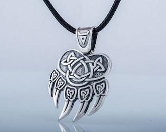 Bear Paw Pendant, Silver Bear Pendant, Bear Necklace, Bear Jewelry, Silver Animal Pendant 925 Silver Animal Jewelry, Veles Pendant