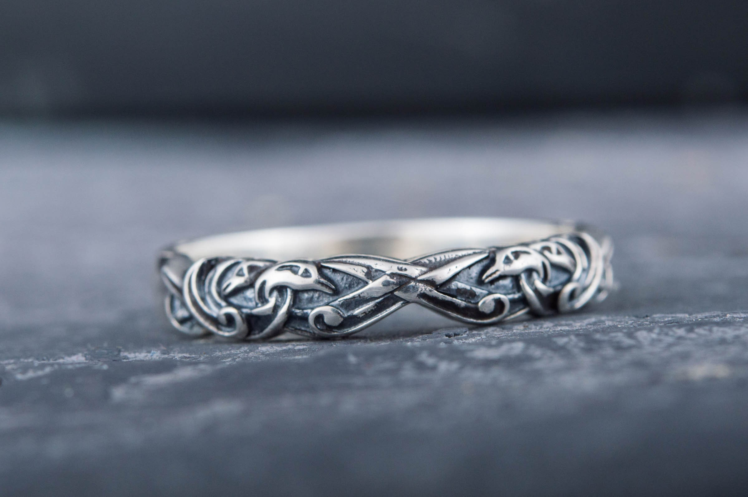 925 Silver Elegant Viking Floral Ornament Tiny Ring, Norse Animal Wedding Scandinavian Band Jewelry, Nordic-style gift for Viking Girlfriend, used for sale