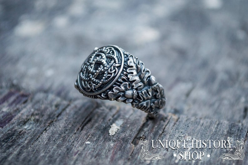 1fabe5f0739d3 Jormungandr Ring with Oak Leaves and Acorns - Unique Handcrafted Viking  Jewelry