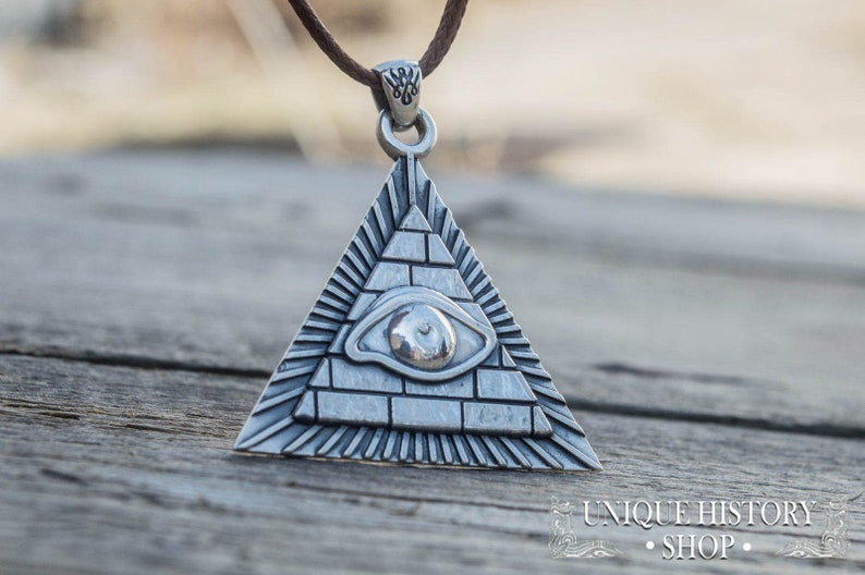 292e7898db665 All-Seeing Eye Pendant, Eye of Providence Pendant, Silver Masonic Eye  Necklace, Knights Templar Jewelry, Freemasonry Pendant,Masonic Pyramid