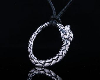 Ouroboros Pendant, Silver Snake Necklace, Jormungandr Pendant, 925 Silver Snake Pendant, Viking Snake Jewelry, Norse Serpent Pendant