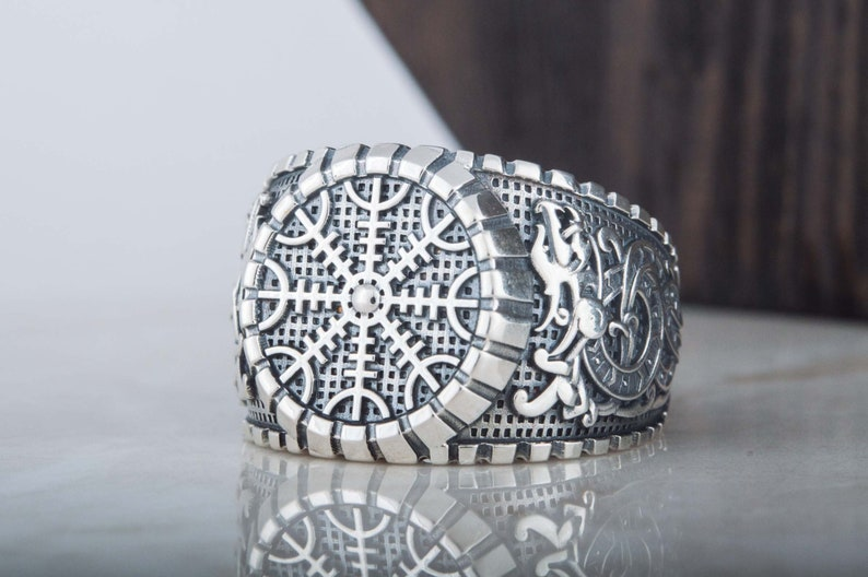 Handcrafted Nordic Ring Heathen Jewelry 925 Silver Helm of Awe Viking Signet Scandinavian Aegishjalmur Ring with Animal Ornament