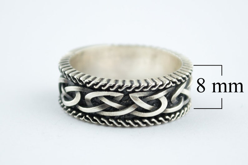 Viking Ornament Ring Scandinavian Pattern Ring Silver Viking Jewelry Handcrafted Sterling Silver Norse Jewelry Ring with Norse Pattern